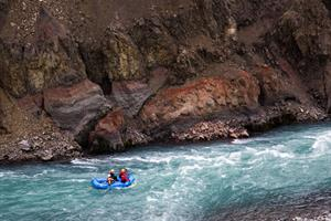Rafting on the blue glacier river