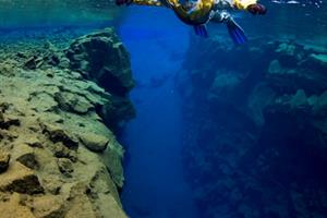 Deep fissures and crystal clear water