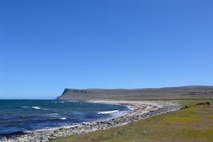 Mountains and beach view in the Westfjords