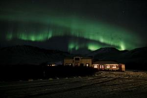 Northern lights above Hotel Anna