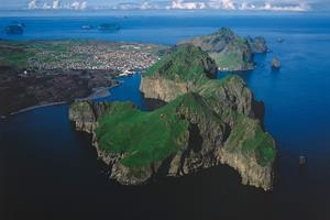 Aerial view of Heimaey - the largest of the Westman Islands