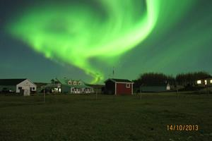 Northern lights at Hotel Lækur