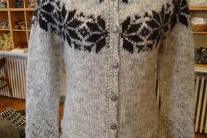 Hand-knitted wool sweater at Þingborg wool centre