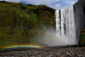 Rainbow by Skógafoss Waterfall
