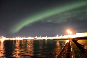 Northern Lights over the harbour